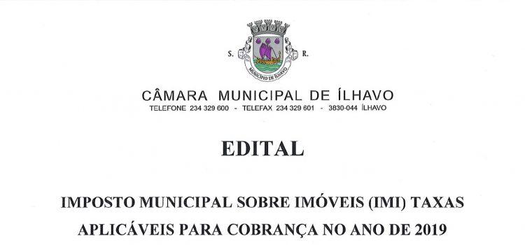 Imposto Municipal sobre Imóveis (IMI) Taxas aplicáveis para cobrança no ano de 2019