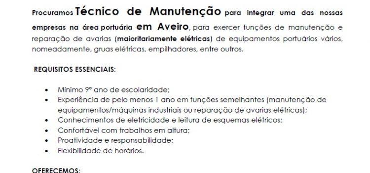 Oferta de Emprego – Técnico de Manutenção