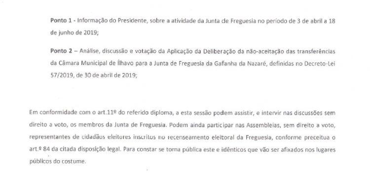 Assembleia de Freguesia da Gafanha da Nazaré – 26-06-2019