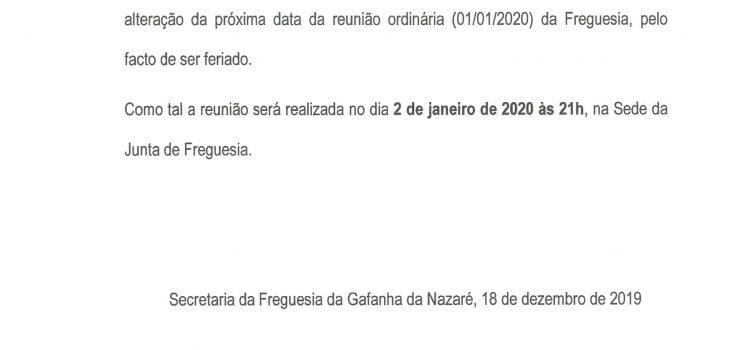 Aviso – Reunião Ordinária do Executivo – 2/1/2020