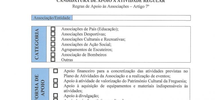 Formulário – Regras de Apoio às associações