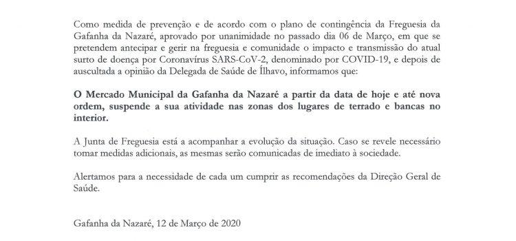 Aviso – Suspensão do Mercado da Gafanha da Nazaré