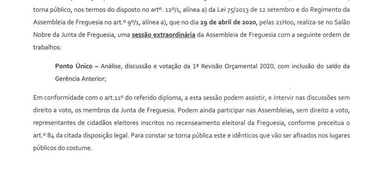 Edital – Assembleia de Freguesia 29/04/2020