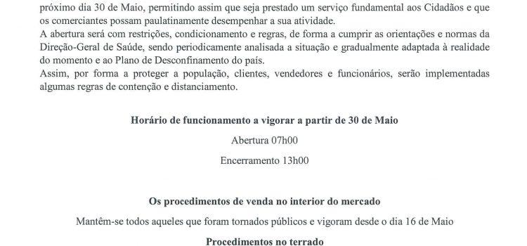 Aviso – Mercado Municipal da Gafanha da Nazaré – 29/05/2020