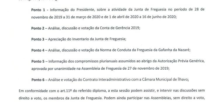 Assembleia de Freguesia da Gafanha da Nazaré – 24/06/2020
