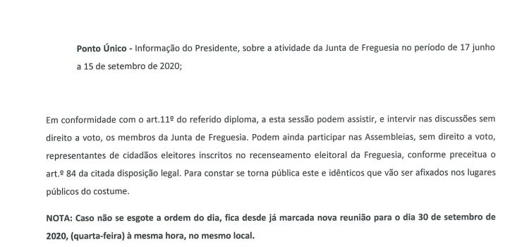 Edital – Assembleia de Freguesia a 23/09/2020