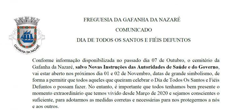 COMUNICADO DIA DE TODOS OS SANTOS E FIÉIS DEFUNTOS