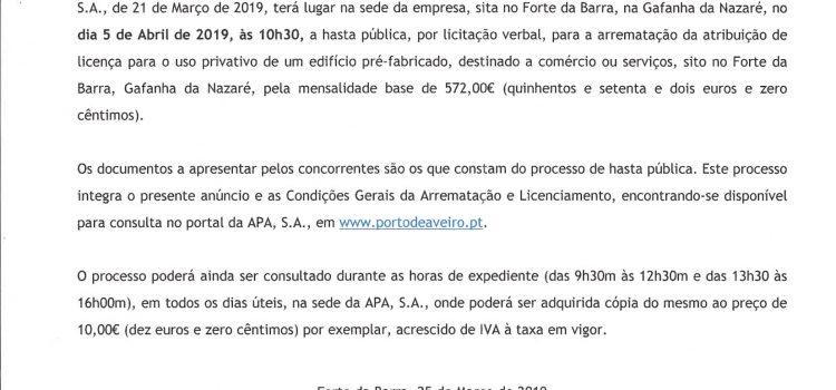 Hasta Pública por licitação verbal para arrematação da atribuição de licença para uso privativo de um edifício pré-fabricado, destinado a comércio ou serviços, sito no Forte da Barra