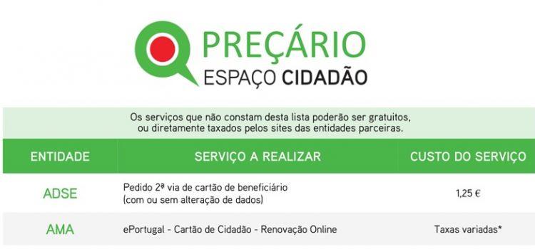 Serviços e Preçário do Espaço Cidadão da Gafanha da Nazaré