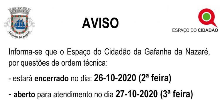 Aviso – Espaço Cidadão (26/10/2020)