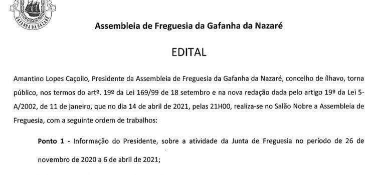 Assembleia de Freguesia da Gafanha da Nazaré – 14 de abril de 2021