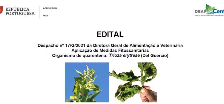 Edital – Organismo de Quarentena – Trioza erytreae