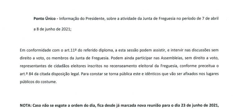 Assembleia de Freguesia da Gafanha da Nazaré de 16 de junho de 2021