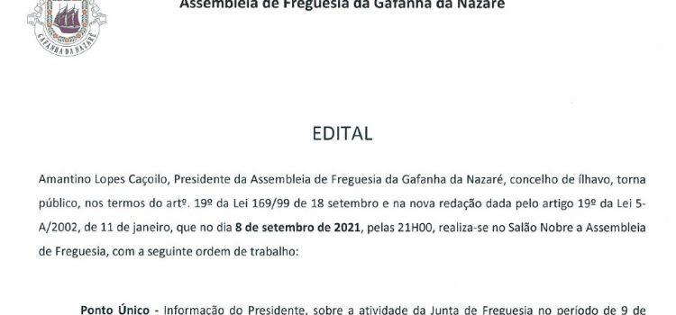 Edital – Assembleia de Freguesia da Gafanha da Nazaré – 08/09/2021